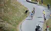 the 'yellow jersey group' / overall contenders Vincenzo Nibali (ITA/Astana), Chris Froome (GBR/SKY), Nairo Quintana (COL/Movistar), Alejandro Valverde (ESP/Movistar) &amp; Alberto Contador (ESP/Tinkoff-Saxo) up the Col d'Allos (1C/2250m/14km/5.5%)<br /> <br /> stage 17: Digne-les-Bains - Pra Loup (161km)<br /> 2015 Tour de France