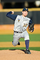 West Virginia Mountaineers starting pitcher Dan Dierdorff (22) in action against the Wake Forest Demon Deacons at Wake Forest Baseball Park on February 24, 2013 in Winston-Salem, North Carolina.  The Demon Deacons defeated the Mountaineers 11-3.  (Brian Westerholt/Four Seam Images)