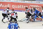 Ben Hanowski (Nr.86, Koelner Haie), Alexandre Bolduc (Nr.49, Koelner Haie), Christian Ehrhoff (Nr.10, Koelner Haie), Torwart Gustaf Wesslau (Nr.29, Koelner Haie), Brett Olson (Nr.16, ERC Ingolstadt) beim Spiel in der DEL, ERC Ingolstadt (blau) - Koelner Haie (weiss).<br /> <br /> Foto &copy; PIX-Sportfotos *** Foto ist honorarpflichtig! *** Auf Anfrage in hoeherer Qualitaet/Aufloesung. Belegexemplar erbeten. Veroeffentlichung ausschliesslich fuer journalistisch-publizistische Zwecke. For editorial use only.