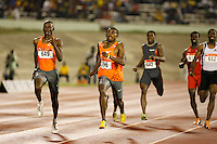 Khadevis Robinson(649)  won the 800m with a time of 1:45.67 and Kivuna Jackson(596) 2nd. with a time of 1:46.32 at the Jamaica International Invitational Meet held at the National Stadium, Kingston, Jamaica on Saturday, May 2nd. 2009. Photo by Errol Anderson,The Sporting Image.net