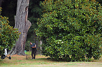 Oscar Cadenhead plays out of the trees on the 18th. Day two of the Jennian Homes Charles Tour / Brian Green Property Group New Zealand Super 6s at Manawatu Golf Club in Palmerston North, New Zealand on Friday, 6 March 2020. Photo: Dave Lintott / lintottphoto.co.nz