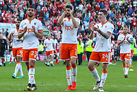 Blackpool's Colin Daniel, Kelvin Mellor and Callum Cooke applaud the travelling supporters<br /> <br /> Photographer Alex Dodd/CameraSport<br /> <br /> The EFL Sky Bet League One - Rotherham United v Blackpool - Saturday 5th May 2018 - New York Stadium - Rotherham<br /> <br /> World Copyright &copy; 2018 CameraSport. All rights reserved. 43 Linden Ave. Countesthorpe. Leicester. England. LE8 5PG - Tel: +44 (0) 116 277 4147 - admin@camerasport.com - www.camerasport.com