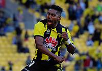 Roy Krishna celebrates scoring the Phoenix' second goal during the A-League football match between Wellington Phoenix and Newcastle Jets at Westpac Stadium in Wellington, New Zealand on Sunday, 21 october 2018. Photo: Dave Lintott / lintottphoto.co.nz