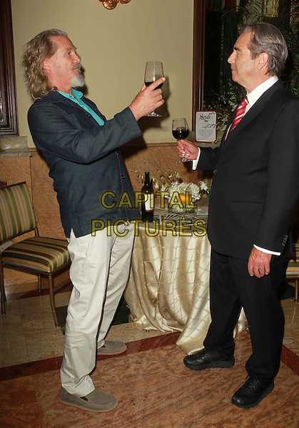 Beau Bridges and Jeff Bridges.Theatre West's 50th Anniversary Gala Held At Taglyan Cultural Complex, Hollywood, California, USA,.13th September 2012..full length beard facial hair red tie white shirt suit cheers wine glass drink black blue .CAP/ADM/KB.©Kevan Brooks/AdMedia/Capital Pictures.