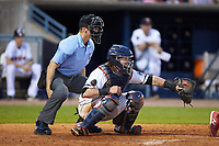 Toledo Mud Hens catcher Jarrod Saltalamacchia (39) on defense as home plate umpire Chris Graham looks on during the game against the Louisville Bats at Fifth Third Field on June 16, 2018 in Toledo, Ohio. The Mud Hens defeated the Bats 7-4.  (Brian Westerholt/Four Seam Images)