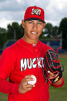 Batavia Muckdogs pitcher Javier Avendano #27 poses for a photo before the first day of practice for the start of the NY-Penn League at the Dwyer Stadium in Batavia, New York;  June 13, 2011.  (Mike Janes/Four Seam Images)