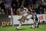 Ulster wing Tommy Bowe goes over in the corner to score..RaboDirect Pro12.Cardiff Blues v Ulster Rugby.Cardiff Arms Park.28.09.12.©Steve Pope