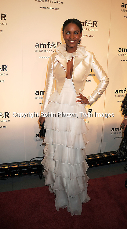 Joy Bryant in Ralph Lauren .posing for photographers at The amFAR New York Gala honoring Julian Schnabel, Carine Roitfeld and Bobby Shriver on January 31, 2008 at Cipriani 42nd Street. ..Robin Platzer, Twin Images..212-935-0770