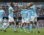Raheem Sterling of Manchester City (l) celebrates scoring their second goal during the premier league match at the Etihad Stadium, Manchester. Picture date 22nd April 2018. Picture credit should read: Simon Bellis/Sportimage