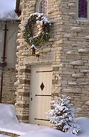 Upscale residential Christmas wreath decoration. St Paul Minnesota USA