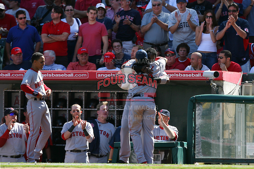 David Ortiz and Manny Ramirez of the Boston Red Sox during a game against the Los Angeles Angels in a 2007 MLB season game at Angel Stadium in Anaheim, California. (Larry Goren/Four Seam Images)