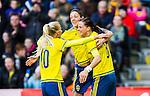 ****BETALBILD**** <br /> Stockholm 2015-04-08 Fotboll Landskamp Damer , Sverige - Danmark :  <br /> Sveriges Lotta Schelin firar sitt 1-0 m&aring;l med Therese Sj&ouml;gran och Sofia Jakobsson under matchen mellan Sverige och Danmark <br /> (Photo: Kenta J&ouml;nsson) Keywords:  Sweden Sverige Denmark Danmark Landskamp Dam Damer Tele2 Arena Stockholm jubel gl&auml;dje lycka glad happy
