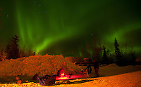 Kirk Barnum tends to his team in McGrath under the northern lights on Wednesday.