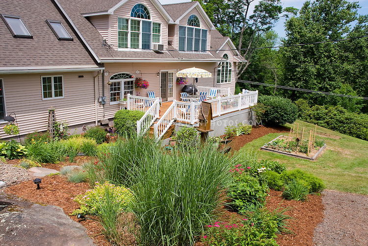 Lovely backyard and deck plant flower stock for Great backyard designs