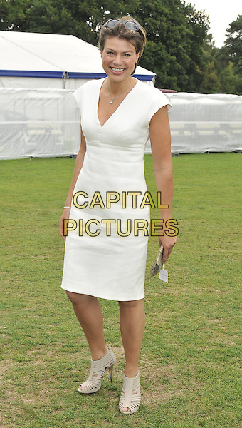 KATE SILVERTON .at the Cartier International Polo, Windsor Great Park, Windsor, Berkshire, England, UK, 26th July 2010..full length white cream dress peep toe cut out shoes booties shoobots  .CAP/CAN.©Can Nguyen/Capital Pictures.