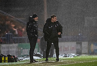 Bolton Wanderers' manager Keith Hill and assistant manager David Flitcroft pictured in the rain during the match <br /> <br /> Photographer Andrew Kearns/CameraSport<br /> <br /> The EFL Sky Bet League One - Rochdale v Bolton Wanderers - Saturday 11th January 2020 - Spotland Stadium - Rochdale<br /> <br /> World Copyright © 2020 CameraSport. All rights reserved. 43 Linden Ave. Countesthorpe. Leicester. England. LE8 5PG - Tel: +44 (0) 116 277 4147 - admin@camerasport.com - www.camerasport.com