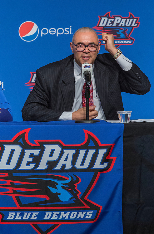 Dave Leitao describes his vision to the media and crowd after being named the new men's basketball coach at DePaul University Monday, March 30, 2015. (DePaul University/Jamie Moncrief)
