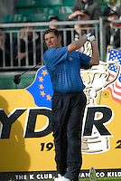 Ryder Cup 206 K Club, Straffin, Ireland...European Ryder Cup team player Lee Westwood on the tee box of the 4th hole during  the  morning fourballs session of the second day of the 2006 Ryder Cup at the K Club in Straffan, Co Kildare, in the Republic of Ireland, 23 September 2006...Photo: Eoin Clarke/ Newsfile.