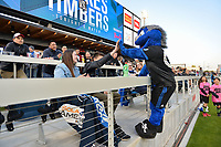 San Jose, CA - Saturday May 06, 2017: Quakes mascot, fans prior to a Major League Soccer (MLS) match between the San Jose Earthquakes and the Portland Timbers at Avaya Stadium.