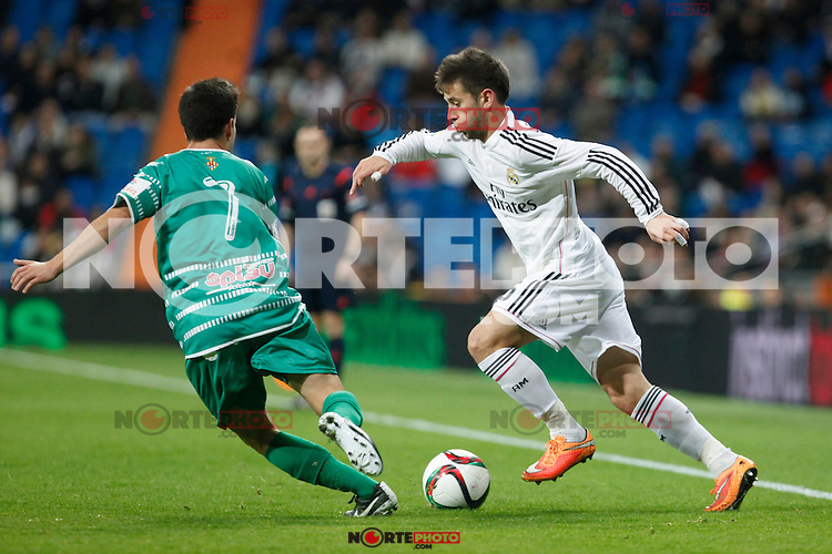Real Madrid´s Medran (R) and Cornella´s Luis during Spanish King Cup match between Real Madrid and Cornella at Santiago Bernabeu stadium in Madrid, Spain.December 2, 2014. (NortePhoto/ALTERPHOTOS/Victor Blanco)
