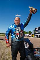 Apr 23, 2017; Baytown, TX, USA; NHRA top fuel nitro Harley Davidson rider Jay Turner celebrates after winning the Springnationals at Royal Purple Raceway. Mandatory Credit: Mark J. Rebilas-USA TODAY Sports