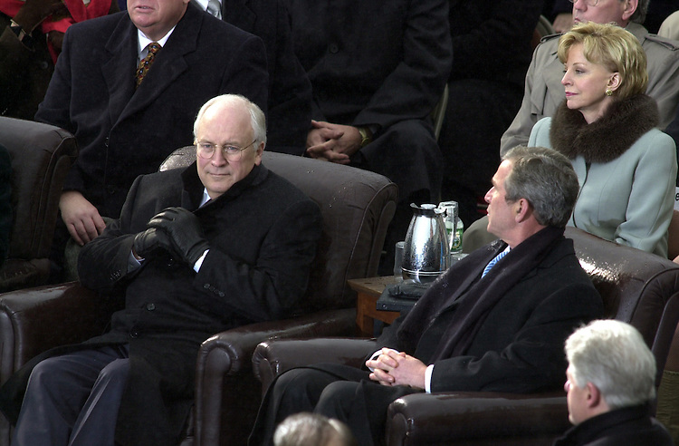 Dick Cheney and George W. Bush during the  during the Inauguration of  the 43rd President of the United States on the West Front of the U.S. Capitol.