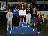 Hunter Meys (1st - Shenendehowa); Josh Peters (2nd - Vestal); Christian Boley (3rd - Brockport); Steven Butler (4th - Port Jervis); Zach Buonaiuto (5th - Miller Place); and Jared Myhrberg (6th - Queensbury) pose on the podium for the Division One 189 weight class during the NY State Wrestling Championship finals at Blue Cross Arena on March 9, 2009 in Rochester, New York.  (Copyright Mike Janes Photography)