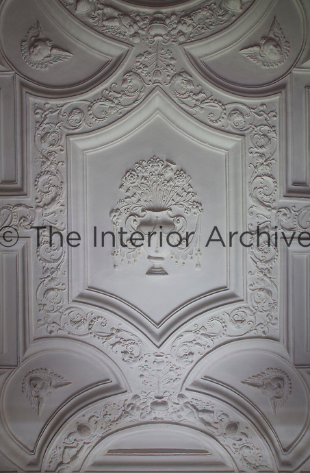The 1603 Union of the Crowns is celebrated in the plasterwork of this ceiling, with thistles and roses, emblems of Scotland and England