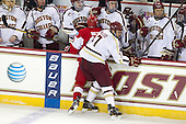 Matt Nieto (BU - 19), Isaac MacLeod (BC - 7) - The Boston College Eagles defeated the visiting Boston University Terriers 5-2 on Saturday, December 1, 2012, at Kelley Rink in Conte Forum in Chestnut Hill, Massachusetts.
