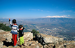 Israel, Upper Galilee, a view of the Hula valley and the Golan Heights from Manara Cliff