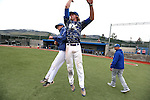 Western Nevada Head Coach D.J. Whittemore celebrates with D.J. Peters after their final regular season game against College of Southern Nevada at Western Nevada College in Carson City, Nev. on Friday, May 6, 2016. <br />Photo by Cathleen Allison/Nevada Photo Source