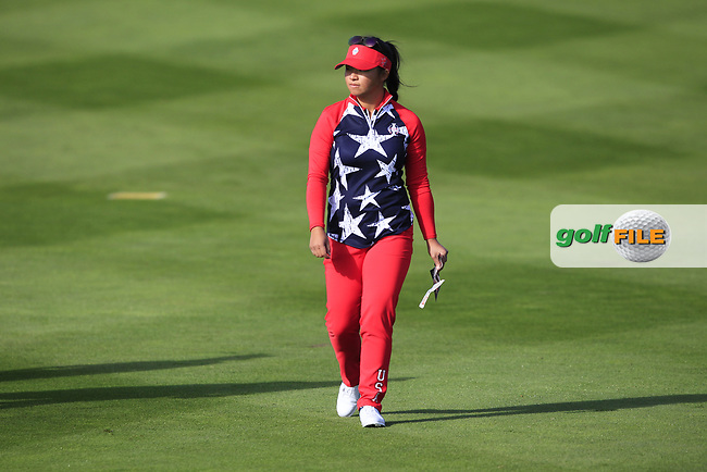 Megan Khang of Team USA on the 7th tee during Day 1 Foursomes at the Solheim Cup 2019, Gleneagles Golf CLub, Auchterarder, Perthshire, Scotland. 13/09/2019.<br /> Picture Thos Caffrey / Golffile.ie<br /> <br /> All photo usage must carry mandatory copyright credit (© Golffile   Thos Caffrey)