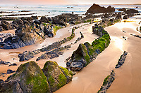 rock formations, Barrika Beach, at sunset, Barrika, Biscay, Basque Country, Spain, Bay of Biscay, Atlantic Ocean