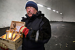 Professor Roland von Bothmer of the Swedish University of Agriculture inside the Global Seed Vault in Svalbard, Norway with seeds donated by Germany.