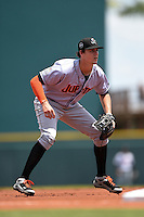 Jupiter Hammerheads third baseman Brian Anderson (9) during a game against the Bradenton Marauders on April 19, 2015 at McKechnie Field in Bradenton, Florida.  Jupiter defeated Bradenton 7-2.  (Mike Janes/Four Seam Images)