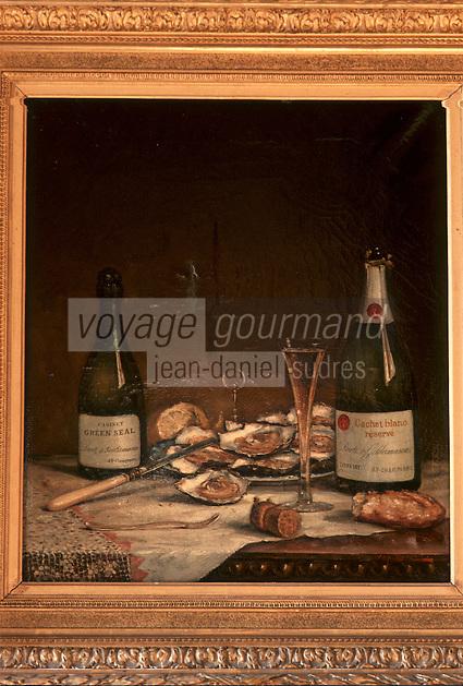 Europe/France/Champagne-Ardenne/51/Marne/Ay: Détail déco Maison de Champagne Deutz Tableau de la salle à manger , huîtres et champagne