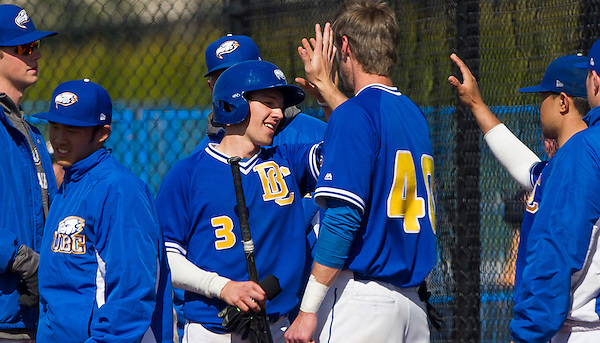 VANCOUVER, BC: MARCH 26, 2016 -- UBC Thunderbirds and Oregon Tech Owls during baseball action at Thunderbird Park at UBC in Vancouver, BC, March 26, 2016. (Rich Lam/UBC Athletics Photo) <br /> <br /> ***MANDATORY CREDIT***