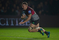 Harlequins' Alex Dombrandt scores his side's first try<br /> <br /> Photographer Bob Bradford/CameraSport<br /> <br /> Gallagher Premiership Round 7 - Harlequins v Newcastle Falcons - Friday 16th November 2018 - Twickenham Stoop - London<br /> <br /> World Copyright © 2018 CameraSport. All rights reserved. 43 Linden Ave. Countesthorpe. Leicester. England. LE8 5PG - Tel: +44 (0) 116 277 4147 - admin@camerasport.com - www.camerasport.com