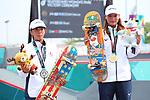 (L-R) Kaya Isa, Sakura Yosozumi (JPN), <br /> AUGUST 29, 2018 - Skateboarding : <br /> Women's Park  Medal ceremony<br /> at Jakabaring Sport Center Skatepark <br /> during the 2018 Jakarta Palembang Asian Games <br /> in Palembang, Indonesia. <br /> (Photo by Yohei Osada/AFLO SPORT)