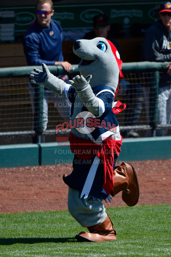 Columbus Clippers mascot during a game against the Toledo Mudhens on April 22, 2013 at Huntington Park in Columbus, Ohio.  Columbus defeated Toledo 3-0.  (Mike Janes/Four Seam Images)