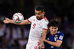 Omid Ebrahimi Zarandini of Iran (L) fights for the ball with AAA during the AFC Asian Cup UAE 2019 Semi Finals match between I.R. Iran (IRN) and Japan (JPN) at Hazza Bin Zayed Stadium  on 28 January 2019 in Al Alin, United Arab Emirates. Photo by Marcio Rodrigo Machado / Power Sport Images