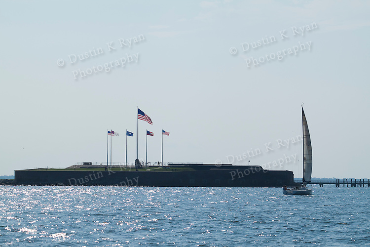 Fort Sumter Charleston South Carolina harbor flags flying high