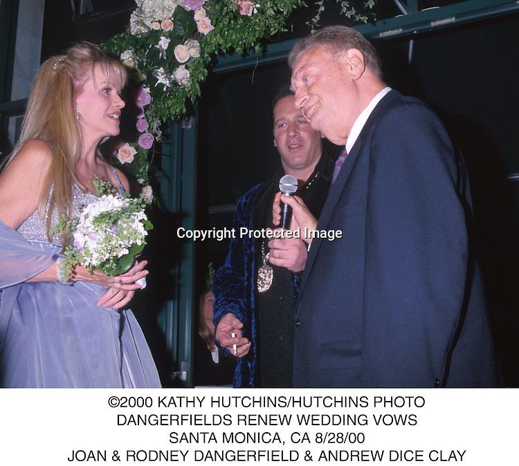 ©2000 KATHY HUTCHINS/HUTCHINS PHOTO.DANGERFIELDS RENEW WEDDING VOWS.SANTA MONICA, CA 8/28/00.JOAN & RODNEY DANGERFIELD & ANDREW DICE CLAY