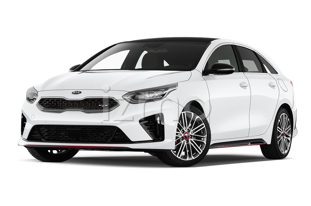 Stock pictures of low aggressive front three quarter view of 2019 KIA Proceed GT 5 Door Wagon Low Aggressive