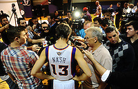 Dec. 16, 2011; Phoenix, AZ, USA; Phoenix Suns guard Steve Nash speaks to the media during media day at the US Airways Center. Mandatory Credit: Mark J. Rebilas-