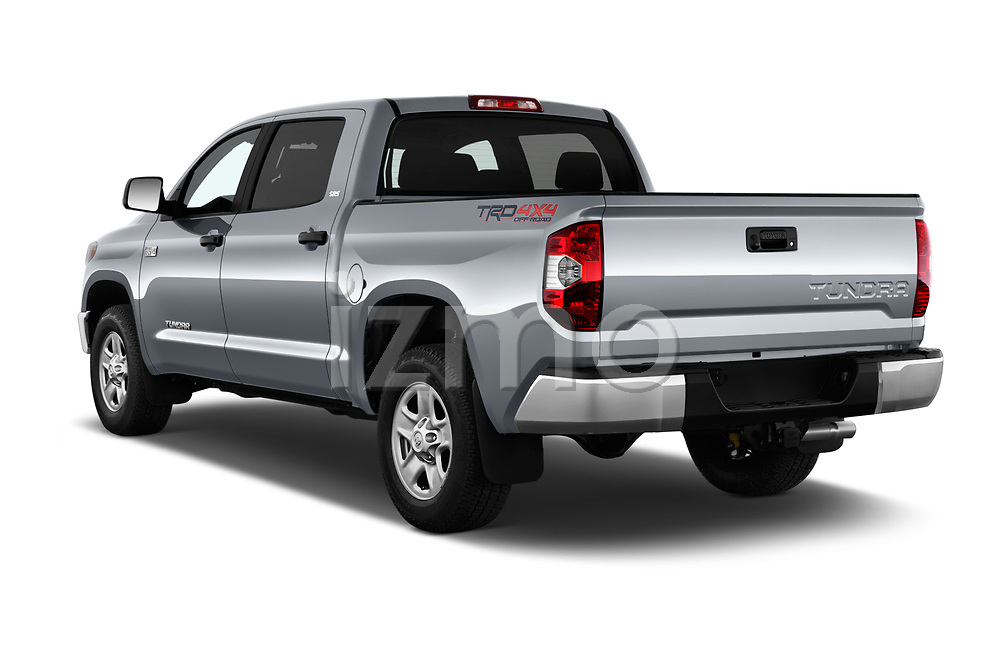 Car pictures of rear three quarter view of a 2019 Toyota Tundra SR5 5.7L Crew Max 4WD Short Bed 4 Door Pick Up angular rear