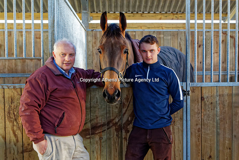 Pictured: (L-R) Peter Bowen with his son Sean Bowen in the barn. Wednesday 10 January 2018<br /> Re: Peter Bower Racing in Little Newcastle, west Wales, UK.