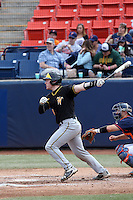 Gunnar Troutwine (14) of the Wichita State Shockers bats against the Cal State Fullerton Titans at Goodwin Field on March 13, 2016 in Fullerton, California. Cal State Fullerton defeated Wichita State, 7-1. (Larry Goren/Four Seam Images)