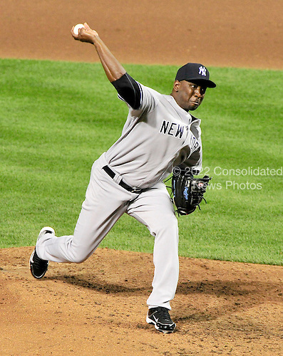 New York Yankees pitcher Rafael Soriano (29) works in the seventh inning against the Baltimore Orioles at Oriole Park at Camden Yards in Baltimore, Maryland on Monday, August 29, 2011.  The Yankees won the game 3 - 1..Credit: Ron Sachs / CNP.(RESTRICTION: NO New York or New Jersey Newspapers or newspapers within a 75 mile radius of New York City)