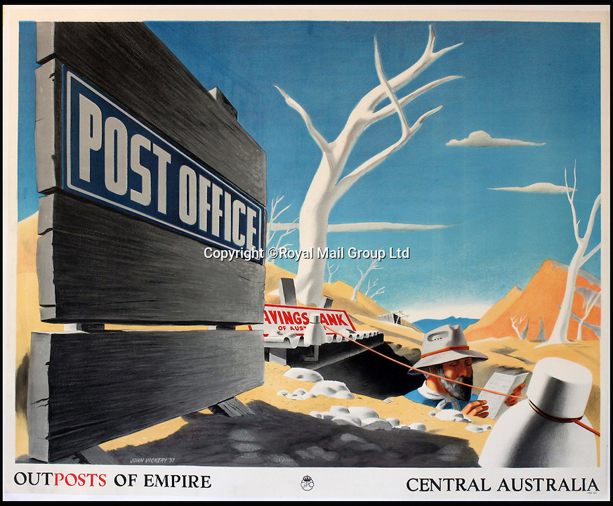 BNPS.co.uk (01202 558833)<br /> Pic: RoyalMailGroup/BNPS<br /> <br /> John Vickery (1906-1983) Outposts of Empire Central Australia GPO poster.<br /> <br /> A one-of-a-kind sale of rare vintage posters could net the Post Office &pound;40,000 to put towards the building of a new museum dedicated to the service.<br /> <br /> In a bid to raise funds for the new British Postal Museum, curators sifted through the Royal Mail archives to find duplicates of advertising posters dating back to the 1930s that they could sell at auction.<br /> <br /> The resulting collection of more than 150 original posters are now going under the hammer at Onslows Auctions in Blandford, Dorset, in a sale the likes of which has never been held before.<br /> <br /> The proceeds will go towards the building of the new museum in Camden, London, which will feature part of the old Post Office Underground Railway - the Mail Rail - as a heritage attraction.